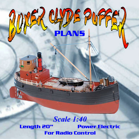 Build Clyde puffer is a type of small coal-fired and single-masted cargo ship Full Size Printed Plan