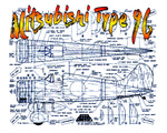 "Full Size Printed PLAN Scale 1"" = 1' Control Line Wingspan 36"" Mitsubishi Type 96"