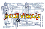 "Full size printed plans Peanut Scale ""DELTA VICKERS"" flew fine on a single loop of one-eighth rubber"