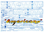 Full Size Printed Plan Free Flight .15 competition 'Americano' rugged, fine performer