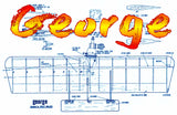 Full Size Printed Plan & Building Notes  HALF‑A COMBAT *George* WINGSPAN 22 INCH  Engine 1/2A