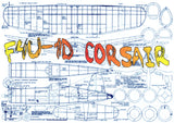 "Full size printed plan F4U-1D Corsair Scale 1: 12  Wingspan 40.9""  Power Rubber"