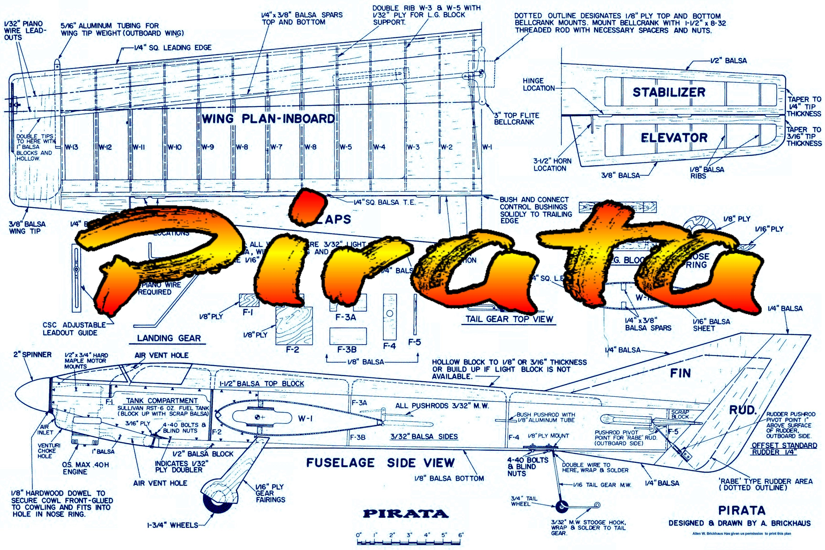 Full Size printed plan Vintage 1982 Control line Stunter .35 to .40 Pirata forgiving design and no odd quirks.