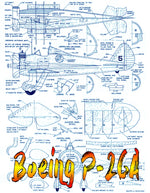 "Full Size PLANS  Control Line  Scale 1"" = 1' Boeing P-26A Wingspan 27""  Engine .29 to .49"