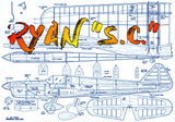 "Full Size Printed Plan 1967 Control Line  Semi Scale Stunt RYAN ""S.C."" Wingspan 52""  Engine .35"
