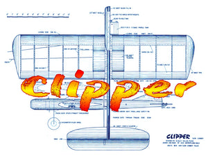 "Full Size Printed Plan & Building Notes  Slow Combat ""Clipper""  Wingspan 35""  Engine .35"