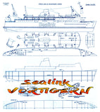 "Full Size Printed Plan Semi Scale 1 to 150 train/car/passenger ferry ""Sealink VORTIGERN"" Suitable for Radio Control"