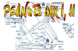 "Full Size Printed Plan  1/2 A 1959 Control Line Speed PEANUTS MK II Wingspan 9""  Engine .049"