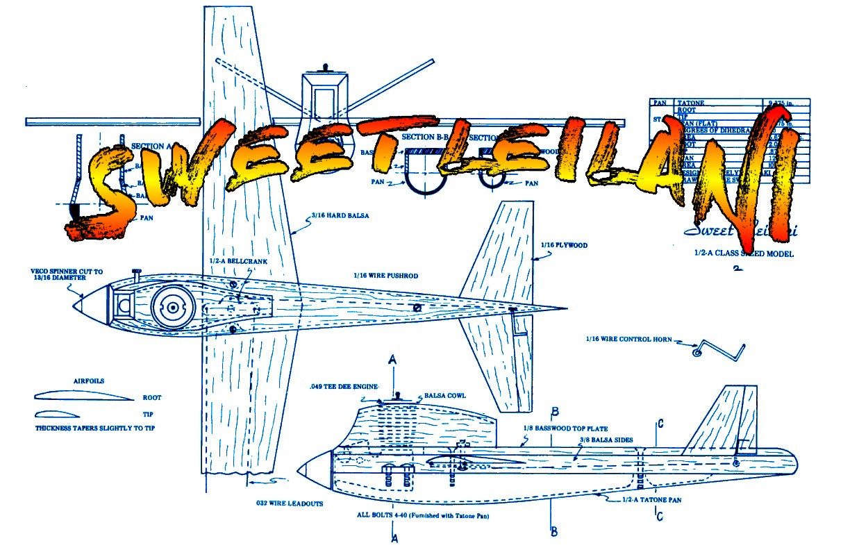 Full Size Printed Plan  1/2 A  1975 Control Line Speed SWEET LEILANI Engine .049 Wingspan 12