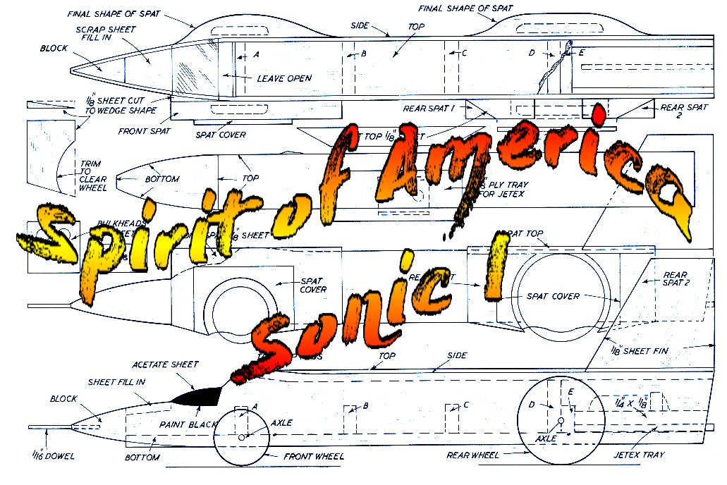 "Full Size Printed Plan  Spirit of America‑Sonic‑I Semi-scale 1:32  Length 13 ½""  Engine Jetex 50  or convert to small rocket or Ducted fan"