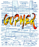 "Full Size Printed Plan Vintage 1952 ""GOPHER""  a consistent winner in the Nat Wingspan 18""  Engine Dooling .61"