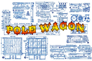 "Full Size Printed Plans CIRCUS POLE WAGON Scale 3/4"" =1ft  Length 22 INCHES  Width 7 INCHES  Height 12 INCHES"
