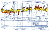 "Full size Printed Plans  Century Sea Maid Scale 1/4  Length 54""  Beam 18 ¾ Suitable for radio control"