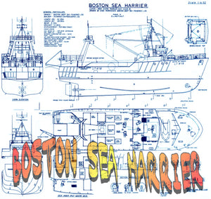 "Full Size Printed Plans multi-purpose trawler,Scale1:50  Length 26 1/4""  BOSTON SEA HARRIER"