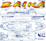 "Full Size Printed Plan Scale 1:40 Russian Lake Steamer "" BAIKA "" suitable for Radio control"