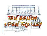 Full size printed drawing G. Brill Co Ten Bench Open Trolley  FROM THE 40s