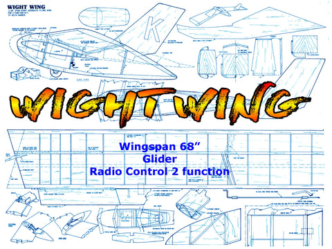 "Full Size Printed Plan Glider Wingspan 68"" for Radio Control ""WIGHT WING"""