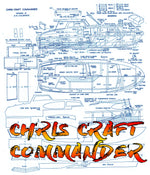 Full Size Printed Plan to Build a 1:20 Scale CHRIS CRAFT COMMANDER  for Radio Control