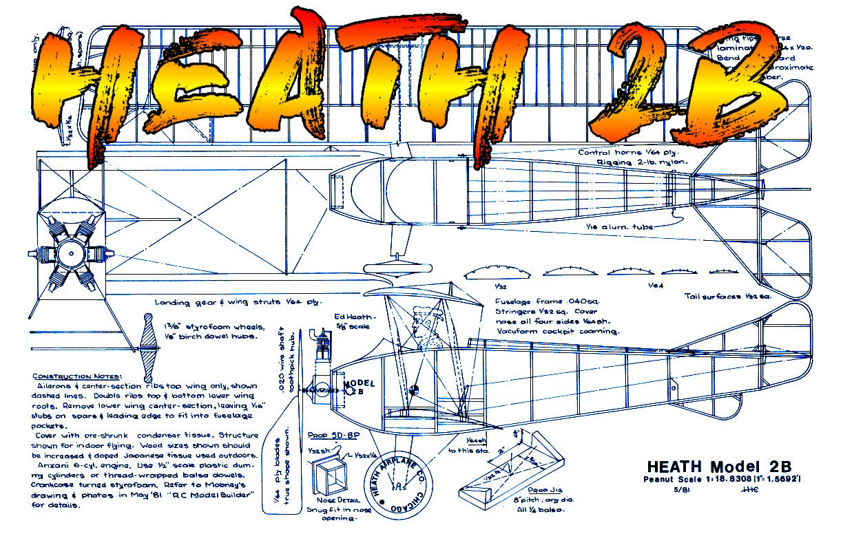 Full Size Printed Plans Peanut Scale HEATH 2B it flies well