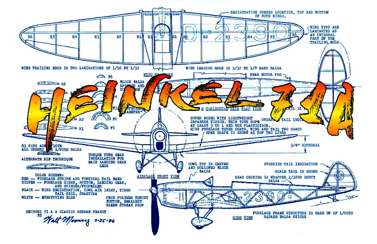 "Full size printed plans Peanut Scale  ""HEINKEL 71A"" classic German tail dragger from the 30s"