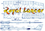 "Full size printed plans Vintage 1983 Freeflight ""Royal Lancer"" for .15 w/s 55"""