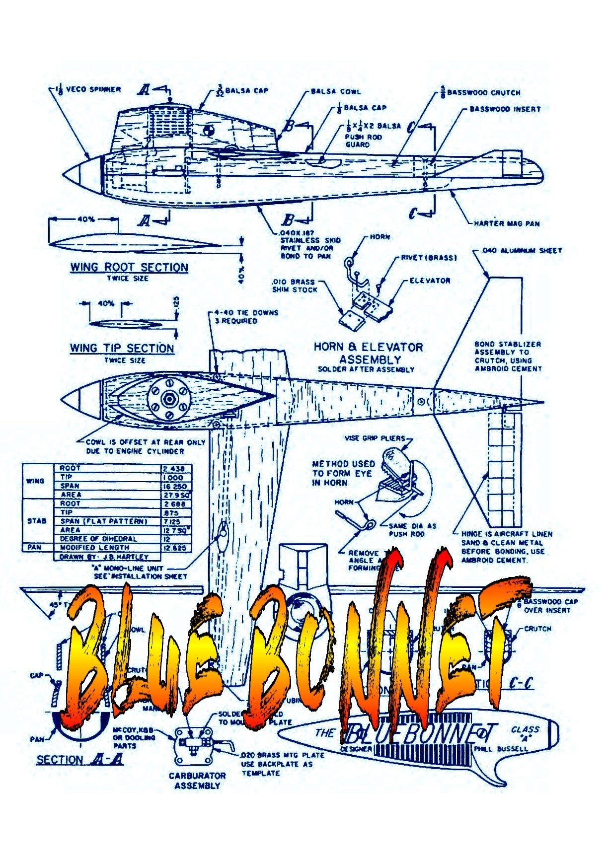 "Full Size Printed Plan  Control Line Speed BLUE BONNET WINNER IN CLASS ""A"" SPEED '64"