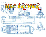 Full size printed plans 1:50 SCALE ARCHER STEAM TUG Suitable R/C Steam or Electric