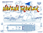 "Full Size Printed Plan Scale 1:48 Length 35"" Trawler M.T. NAVENA Suitable for R/C"