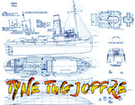 "Full Size Printed Plan Build a 1:48 SCALE RADIO CONTROL TYNE TUG BOAT  ""JOFFRE"""