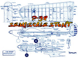 Full size printed plan Vintage 1966 SEMI-SCALE CONTROL LINE STUNTER .19 to .29 P·38