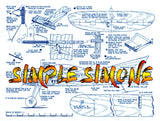 "Full Size Printed Plan Profile Control line trainer ""SIMPLE SIMONE"" simple to build and built to last"