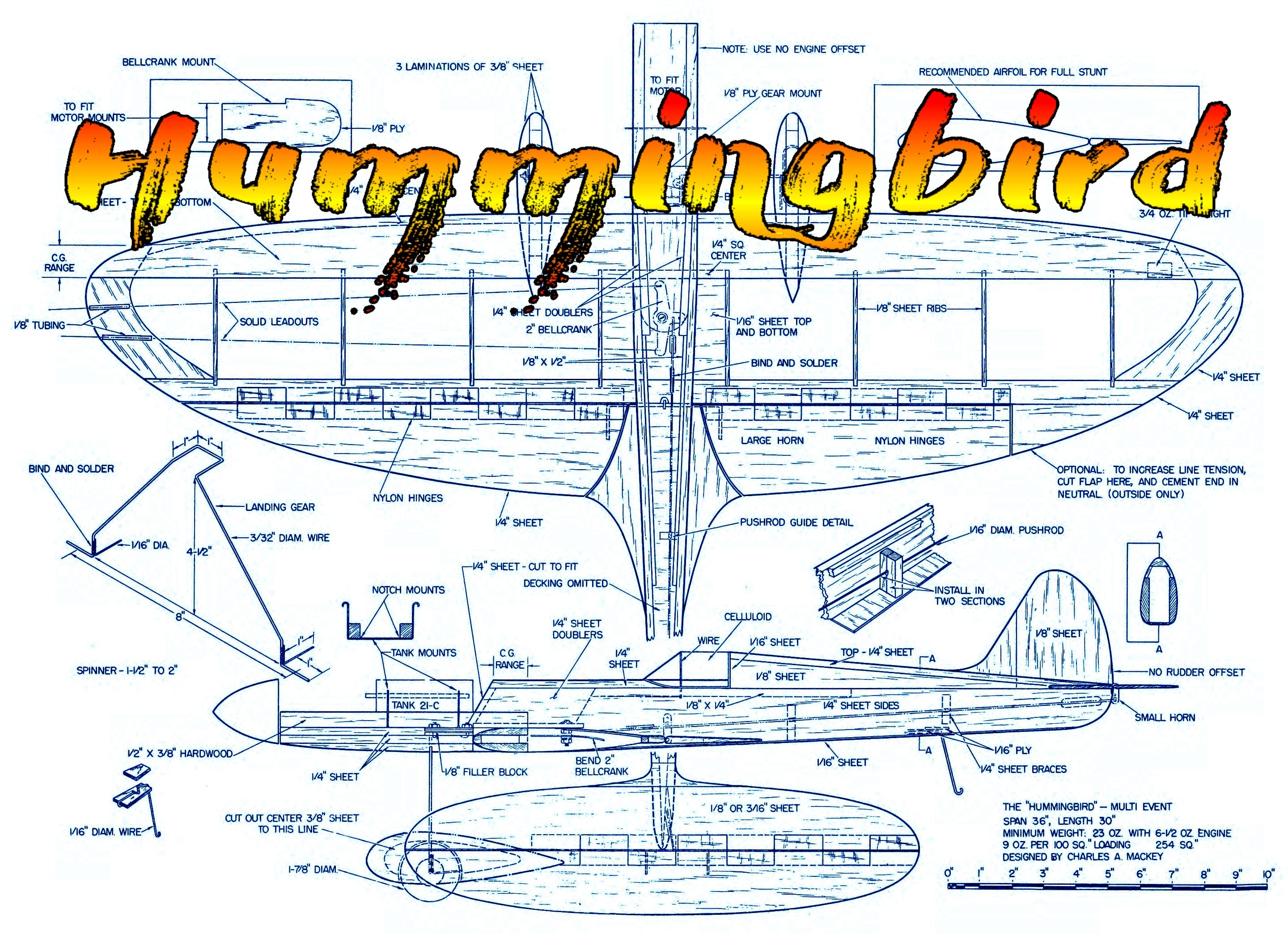 Full Size Plans Vintage 1962 CONTROL LINE STUNTER Hummingbird  fuel it up and let's fly again!""
