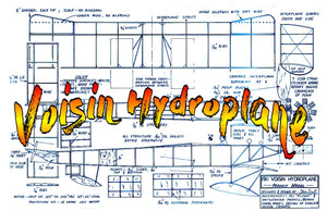 "Full size printed plans Peanut Scale ""Voisin Hydroplane"" that flies well enough to have won"