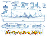 Full Size Printed Plan 'Period' cargo vessel Scale  1/196 Northwestern Miller