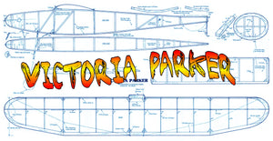 "Full size printed plan Freeflight VICTORIA PARKER Wingspan 32""  Power Rubber"