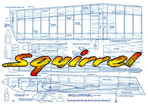 FULL SIZE Printed Plan Vintage 1976 .35-.46 Control line Stunter Squirrel how to build something different,