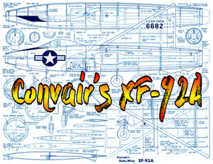 "Full Size Printed Plans Vintage 1950 Scale 1""= 1' XF-92A Convairs Delta Wing Engine Dyna-Jet  or  ducted fan"