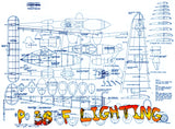 "Full Size Printed Plan P 38 F Lighting Scale 1/18  Wingspan 34 1/2""  Power Twin Rub"