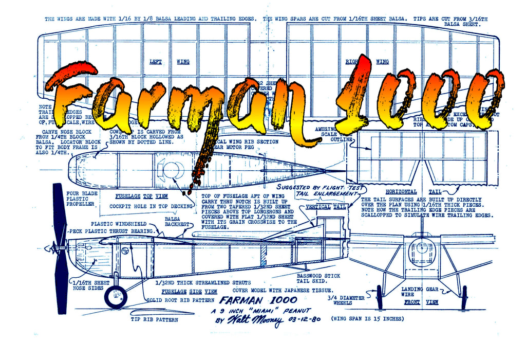 Full Size Printed Peanut Scale Plans Farman 1000 Miami 9-inch-fuselage rule