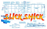 "Full Size Printed Plan & Building Notes combat SLICK SHICK 23 1/2 "" Wingspan  Engines .051 to .09"