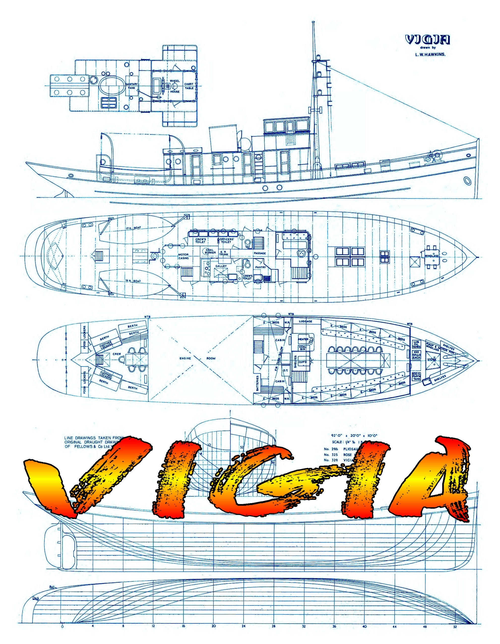 "Full Size Printed Plan Scale 1:48 tender/pilot vessel ""VIGIA"" Suitable for Radio Control"