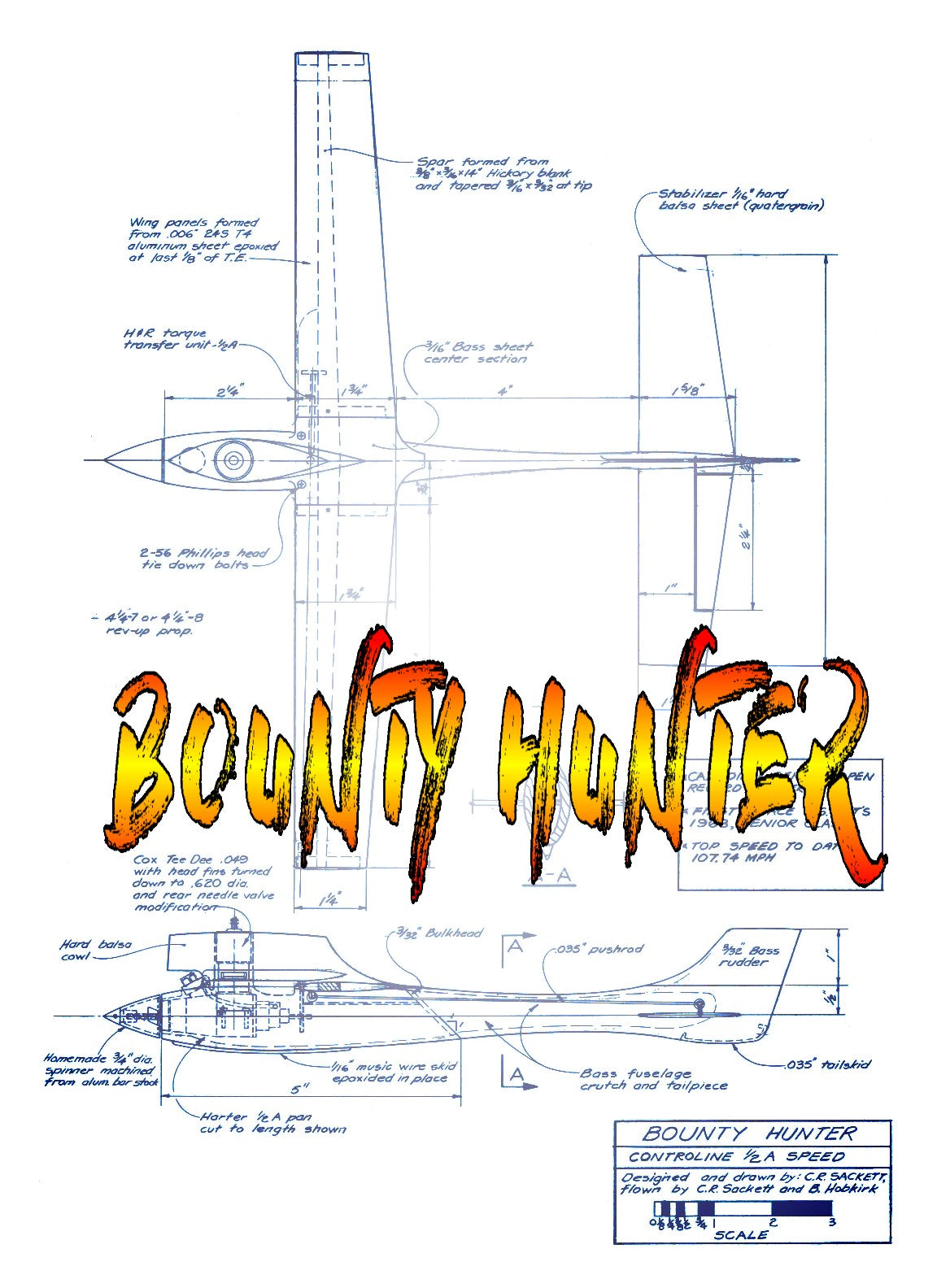 Full Size Printed Plan 1973 1/2 A Control Line Speed  BOUNTY HUNTER W/S 14 INCHES ,TEE DEE .049 ENGINE
