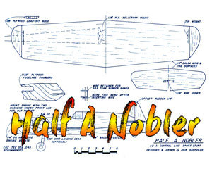 "Full Size Printed Plan a good stunt trainer Half A Nobler CONTROL LINE  WINGSPAN 27""  ENGINE .049"