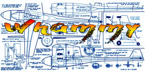 "Full Size Printed Plan  1949 Control line Speed  ""Whammy""  Wingspan 12""  Engine .19"