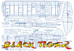 "Full Size Printed Plan VINTAGE  1953 Control Line Stunter ""BLACK TIGER""  Simple in design, simple in construction"