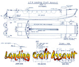 "Full size printed plan Landing Craft Assault Scale 1:16  Length 31.063  Beam 7 ¾""  Suitable for radio control"
