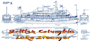 Full Size Printed Plan Scale 1:72 British Columbia Lake Steamer Suitable for Display or Radio Control