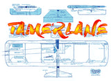 Full Size Printed Plan & Building Notes  ultimate' 1/2 A Combat **TAMERLANE**  WINGSPAN 28 or 36 INCH