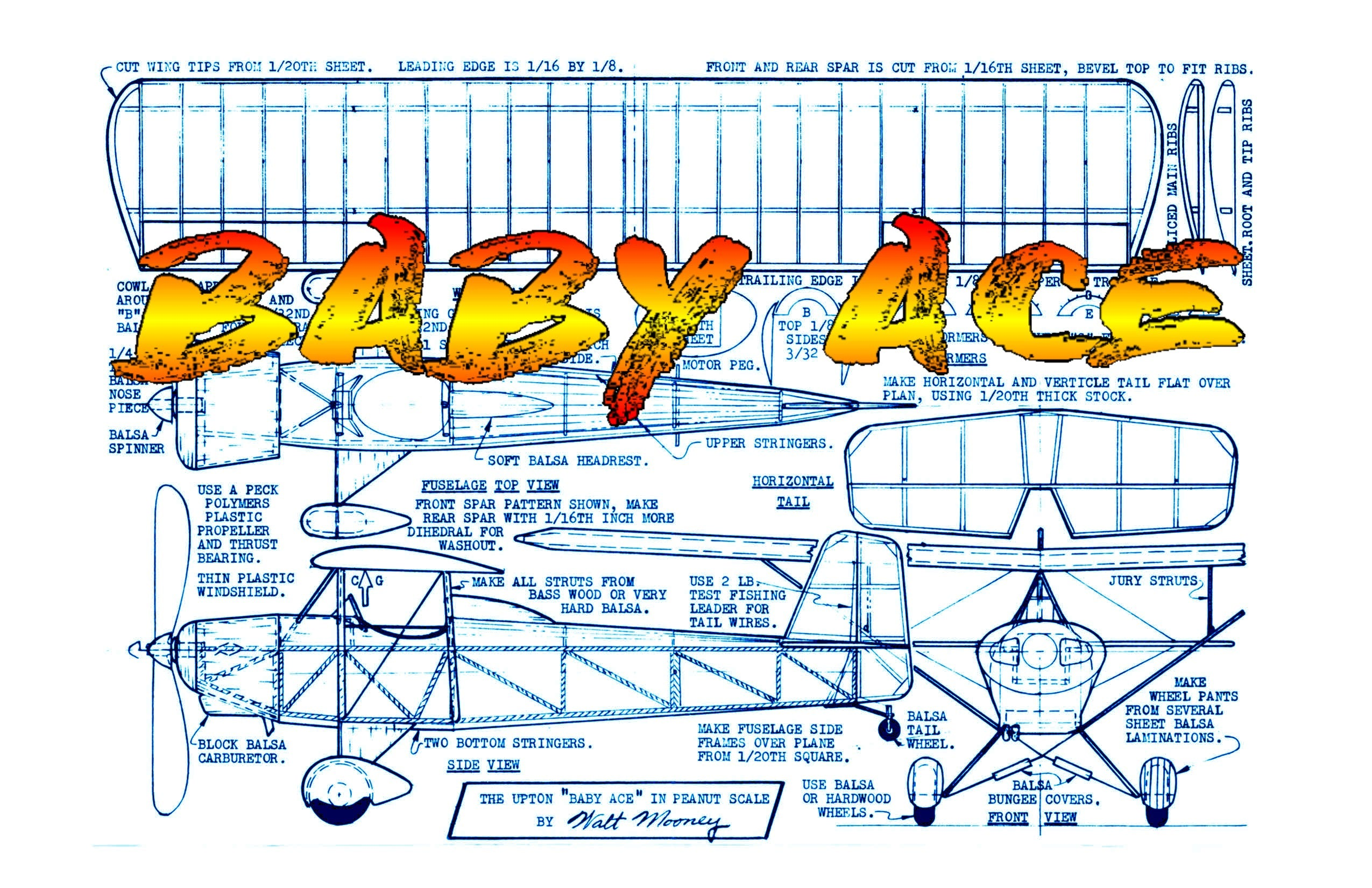 "Full Size Printed Peanut Scale Plans  ""BABY ACE"" Peanut required almost no flight trim adjustments."