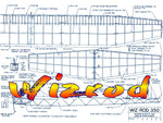 "Full Size Printed Plan Wingspan 58""  Engine 1/2A Wizrod UNCOMPLICATED HIGH-PERFORMANCE FF"